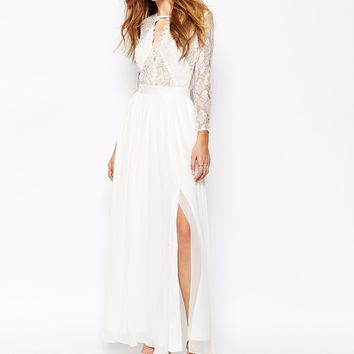 Fame and Partners Geo Heartline Lace Panel Long Sleeve Maxi Dress