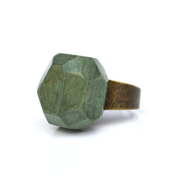 Faceted spring green wood ring tree branch wood statement ring rustic jewelry wood geometric jewelry by Starlight Woods
