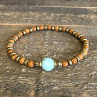 """Picture Jasper and Amazonite Fine Faceted """"Balance and Communication"""" Bracelet"""
