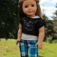 grey tank top, lace off the shoulder tee and plaid skinny cords, 18 inch doll clothes, American Girl