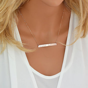 14k Gold Bar Necklace,  Bar Necklace, Personalized Name Necklace, Horizontal Bar Necklace, Monogram Bar Necklace Gold, Silver,  5x50