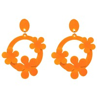 Orange Earrings - Fashion Jewelry - Flower Earrings - Multiple Color Options Available
