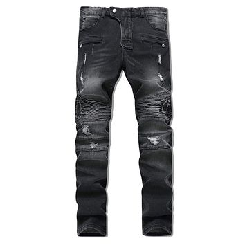 Men's Patchwork Ripped Long Jeans