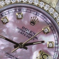 Rolex Stainless Steel & Gold 36mm Datejust Unisex Watch Pink MOP Diamond Dial