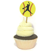 Softball Party Supplies - Pitcher Cupcake Toppers - Pack of 12