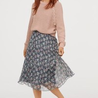 Pleated Skirt - Gray-blue/floral - Ladies   H&M US