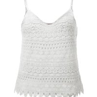 LE3NO Womens Loose Floral Crochet Sleeveless Tank Top (CLEARANCE)
