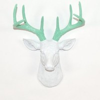 Mini White Faux Deer Head Wall Mount with Seafoam Green Antlers - The Mini Isabella By White Faux Taxidermy Decor | Miniature Stag Animal Head Wall Mount | Hanging Wall Sculpture