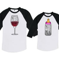 Mommy And Me Outfits Mother Daughter Top Mom And Son Shirt Mom And Baby Gift Need Wine Need Milk American Apparel Unisex Bodysuit DN-626-627