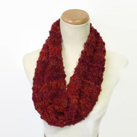 Red Brick Cowl, Knit Scarf, Hand Knit Cowl, Fashion Accessory, Infinity Scarf, Circle Scarf, Loop Scarf, Fiber Art,