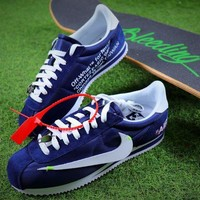 ONETOW OFF WHITE x Nike Classic Cortez Leather Sport Running Shoes Blue Shoes