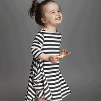 Girls Black Navy Striped Dress Children Baby Clothing Toddler Girl Clothes Kids School Wear Dresses