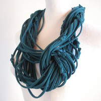 Teal Infinity Loop Scarf Fall Fashion Ultramarine Green Embroidered Scarf Upcycled Clothing Cowl Scarf Warm Winter Scarf Gifts Under 75