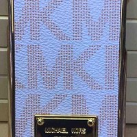 """New MK Designer iPhone 6 4.7"""" Case White With Gold Trim Retail Box And Tags (Discontinued By The Manufacturer)"""