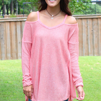 Take Your Time Cold Shoulder Knit {Coral}