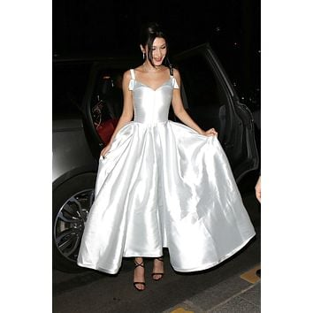 Bella Hadid Silver Satin A-line Prom Dress Formal Celebrity Dress Red Carpet