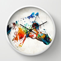 Colorful Horse Art - Wild Paint - By Sharon Cummings Wall Clock by Sharon Cummings