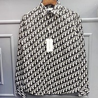 DIOR Fashion Women Men Full Logo Print Long Sleeved Lapel Shirt Top