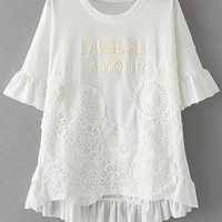 White Short Sleeve Letters Patch Lace Crochet Blouse