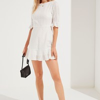 UO Embroidered Eyelet Ruffle Mini Dress | Urban Outfitters