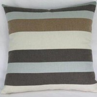 Brown Aqua and Cream Striped Pillow Cover