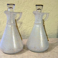 OIL AND VINEGAR Cruets Set, MidCentury Frosted Glass with Gold Trim, Oil and Vinegar Serving Set, Glass MidCentury ServingWare