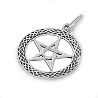 """Sterling Silver Wicca Witchcraft Pentagram Pendant 27MM (Free 18"""" Chain)"""