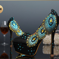 Black Leather Peacock Crystal Wedding Pumps Shoes