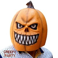 Deluxe Novelty Halloween Costume Party Props Latex Pumpkin Head Mask (Pumpkin new)