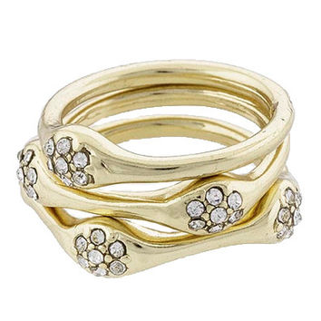 Gold Stack Rings Set with Encrusted Crystal