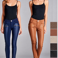 Quilted Leather Contrast Pant