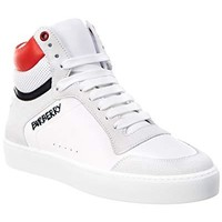 BURBERRY Leather & Suede High-Top Sneaker, 39, White