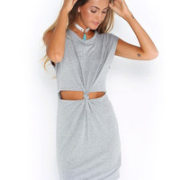 Gray Short Sleeve Cut-Out Knot Casual Bodycon Dress