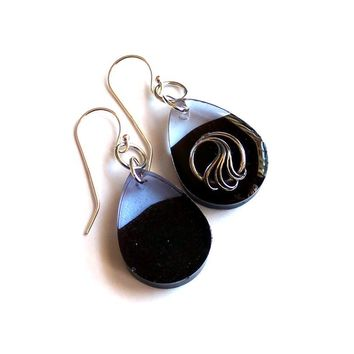 Wave, concrete and resin, mismatched, dangle earrings