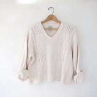 STOREWIDE SALE...vintage white cropped sweater. slouchy sweater. cotton knit sweater.