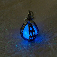 Mermaids Magic Midnight Blue - Caged Pendant with Glowing Essence of the Sea - Amazing Glow in the Dark Effects