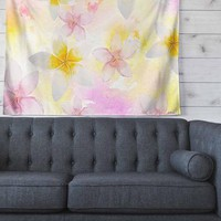 "Sylvia Cook ""White Watercolor Plumerias"" Yellow Pink Digital Wall Tapestry"