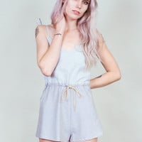 Neely - Blue and white striped romper with loose, flared shorts