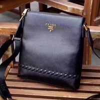 PRADA MEN'S LEATHER CROSS BODY BAG