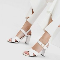 White Criss Cross Square Toe Heeled Sandals | CHARLES & KEITH