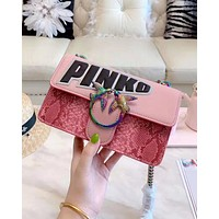PINKO 2019 new women's simple and simple snake chain bag shoulder bag Pink