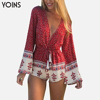 YOINS 2016 New Boho Printed Women Jumpsuit Sexy V-Neck Romper Long Sleeve Bodysuit Tie Waist Rompers XXXL Overalls Beach Wear