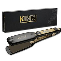 KIPOZI Professional Titanium Flat Iron Hair Straightener w/ Digital LCD Display,1.75 inch wide black