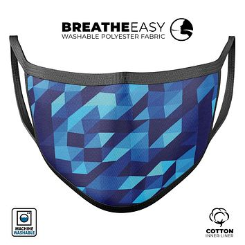 50 Shades of Blue Geometric Triangles - Made in USA Mouth Cover Unisex Anti-Dust Cotton Blend Reusable & Washable Face Mask with Adjustable Sizing for Adult or Child