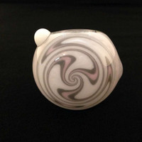 Sale Glass Pipe Inside Out White Pink Grey Frit Fade with Matching Switchback Cap Tobacco Spoon Pipe