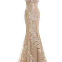 Sunvary Gorgeous Champagne Mermaid Wedding Dresses for Bride Lace and Chiffon Prom Evening Gowns US Size 16- Champagne