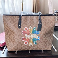 COACH New Fashion Letter Pattern Print Leather Shoulder Bag Handbag