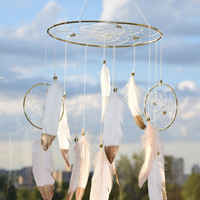 Baby  Mobile, Blush and White Dreamcatcher Mobile, Baby Nursery Decor, White Feathers Mobile