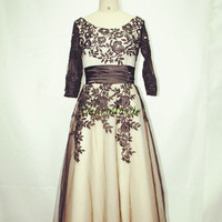 long modest black lace evening dresses classic round neck 3/4 sleeve prom dress hot unique elegant gowns for wedding party