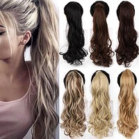 """Hair Extension Heat Resistant Synthetic Natural Wave Pony Tail WTB 22"""" Long Wavy Wrap Around Clip In Ponytail"""
